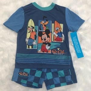 Mickey Mouse Pajama Set SoCal Surfboard Disney